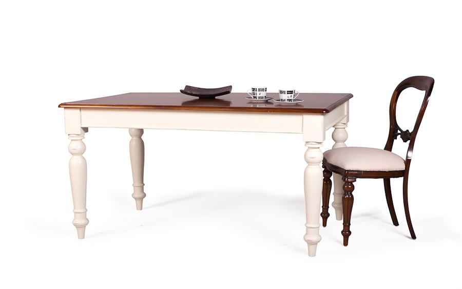 mesa de comedor victoriana fija blanca y madera no