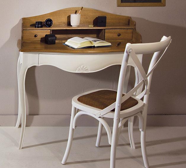 Mesa de escritorio bicolor vintage par s en cosas de for Muebles de escritorio