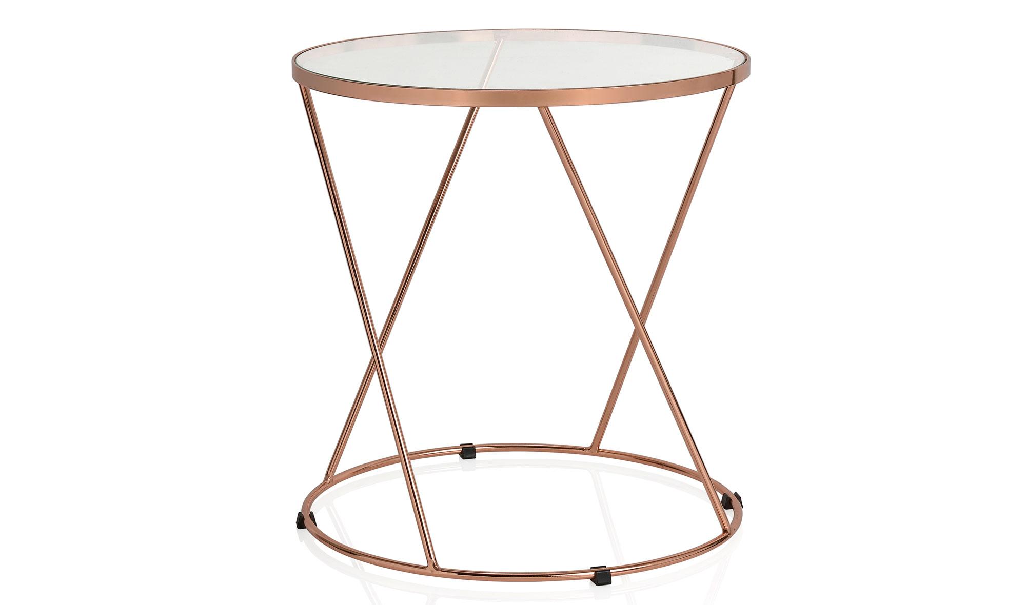 Mesa de rincón moderna cristal y cobre