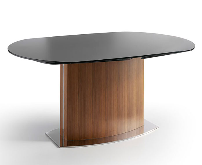 Mesa ovalada extensible de cristal templado car interior - Mesa de cristal templado ...