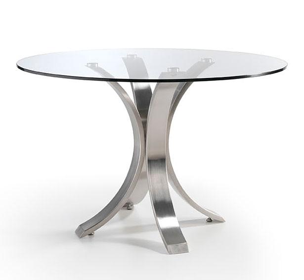 Mesa de comedor redonda moderna maddox en - Mesa redonda de cristal ...