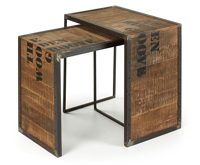 Mesas nido vintage groove en for Muebles industriales madera y hierro