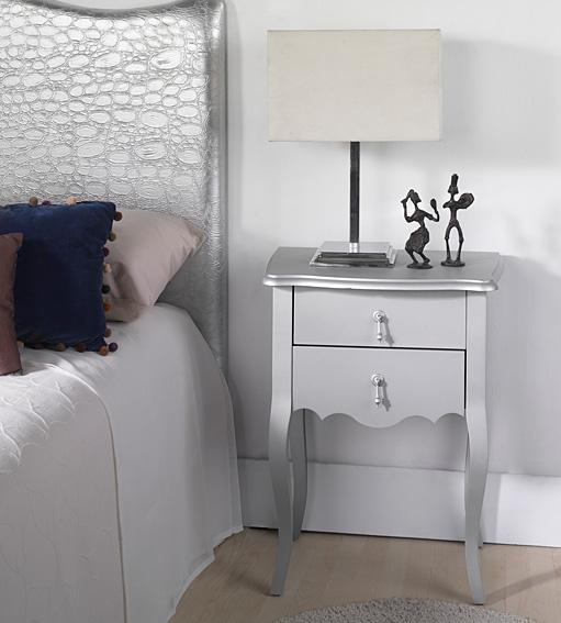 Mesita de noche ancha plata astoria no disponible en for Muebles mesitas de noche