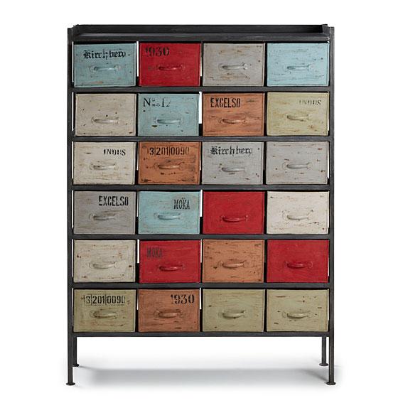 Mueble auxiliar 24 cajones keywest en for Como restaurar un mueble vintage