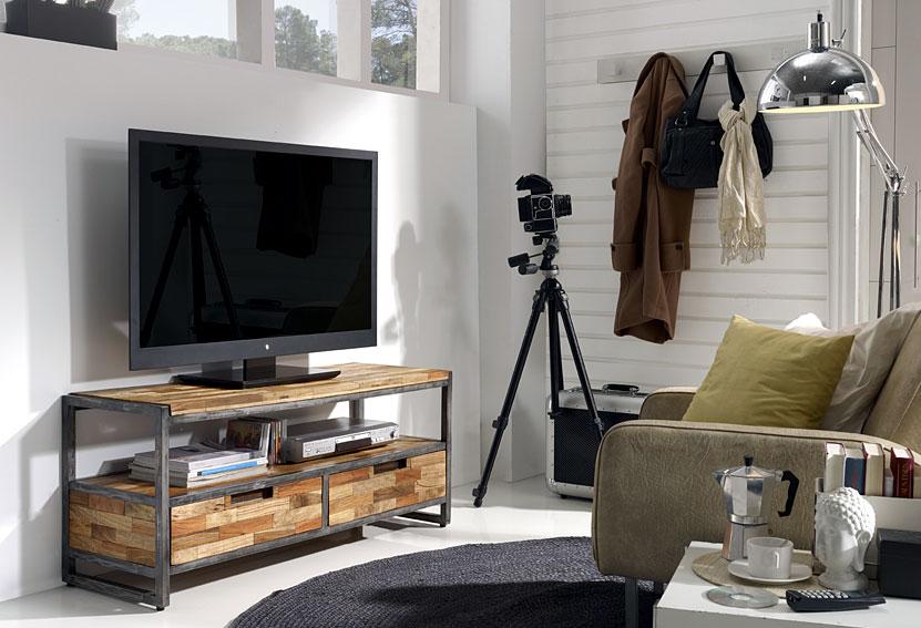 Mueble tv 2 cajones teca reciclada no disponible en for Mueble tv industrial