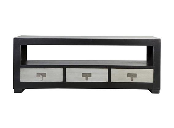 Mueble tv 3 cajones negro y plata no disponible en for Mueble tv negro