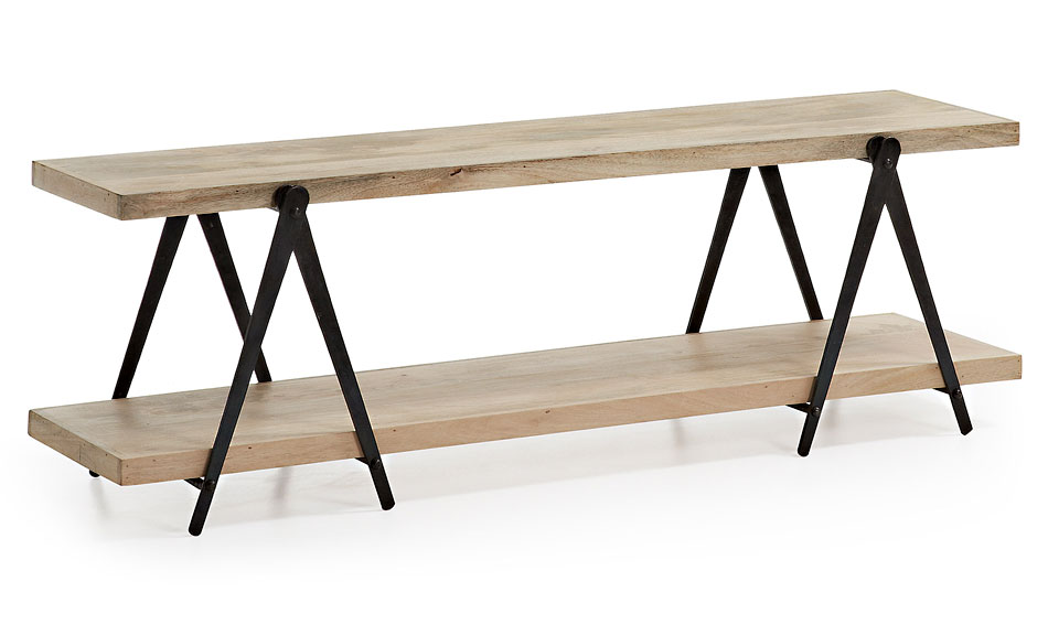 Mueble de tv industrial erutna negro y madera en for Mueble vintage industrial