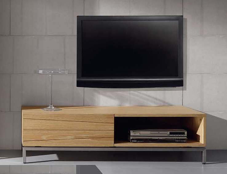 Mueble tv de madera natural weymouth no disponible en for Mueble tv habitacion