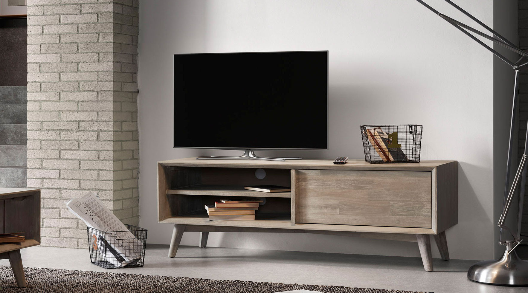 Mueble tv madera n rdica derwon 2 no disponible en for Muebles para tv conforama