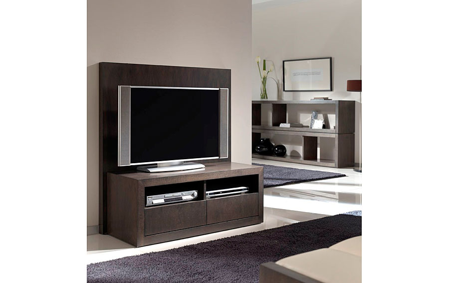 Mueble tv madera moderna kufri en for Mueble tv dormitorio