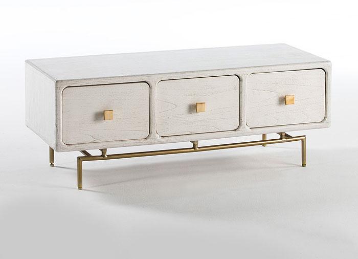 Mueble de tv vintage chachani blanco en - Muebles blanco vintage ...