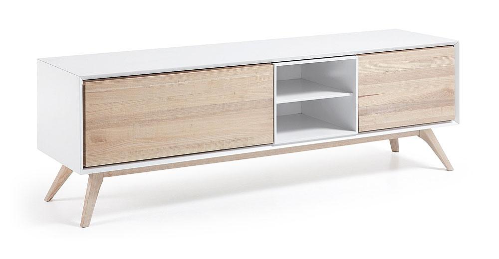 Mueble de tv con puertas nordico quatre de lujo en for Mueble para tv con puertas