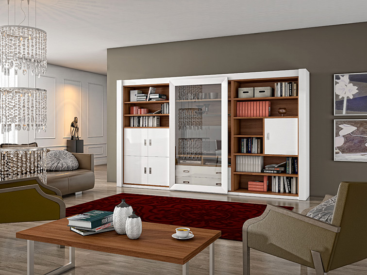 Mueble de tv y libreria moderna osprey no disponible en - Librerias salon modernas ...