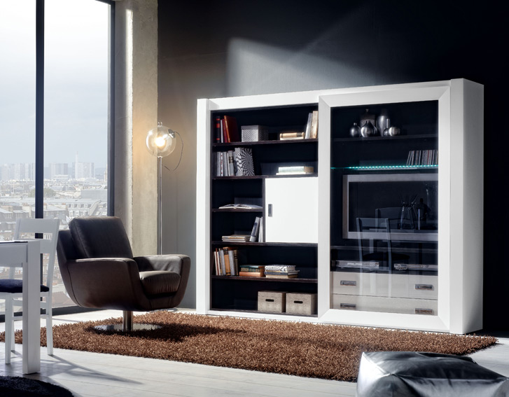 Mueble de tv y libreria moderna ruskin no disponible en for Muebles librerias modernas