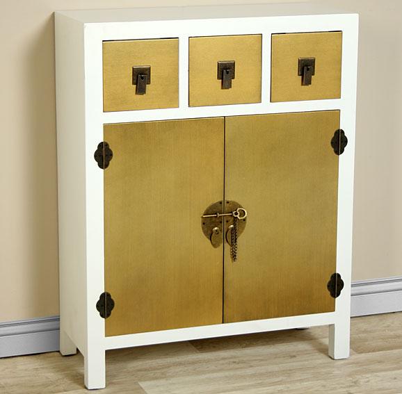 Mueble de entrada blanco y oro chino bise no disponible en - Muebles de entrada vintage ...