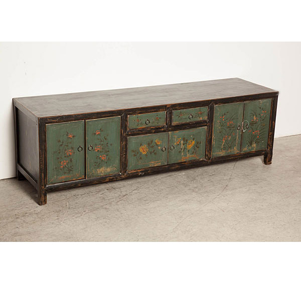Mueble de tv azul flores tibetano no disponible en for Muebles tibetanos