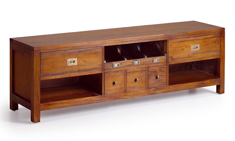 Mueble tv 5 cajones colonial flamingo en for Mueble recibidor madera