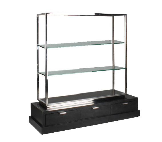 Mueble tv negro acero vermon en dec shop for Mueble tv negro