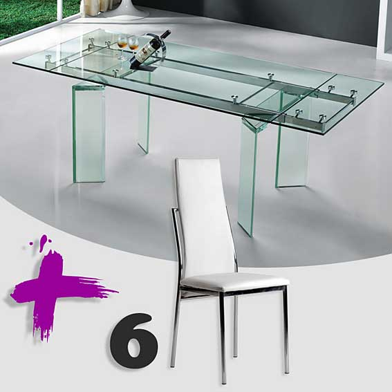 Pack mesa comedor ext y 6 sillas cibeles no disponible en for Sillas comedor pack 6
