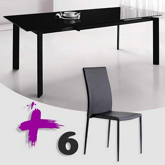Pack mesa comedor ext y 6 sillas lares no disponible en for Sillas comedor pack 6