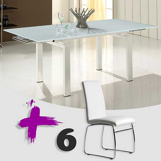 Pack mesa comedor ext y 6 sillas minerva no disponible en for Sillas comedor pack 6