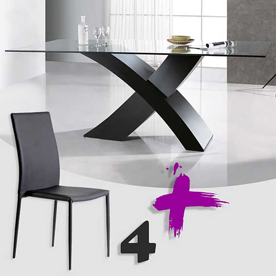 Pack mesa comedor y 4 sillas clio no disponible en for Muebles mesa y sillas comedor