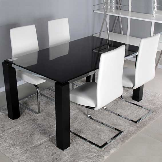 Pack mesa comedor y 4 sillas hefesto no disponible en for Sillas cromadas para comedor