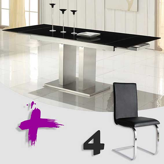 Pack mesa comedor y 4 sillas febea 2 no disponible en for Muebles mesa y sillas comedor