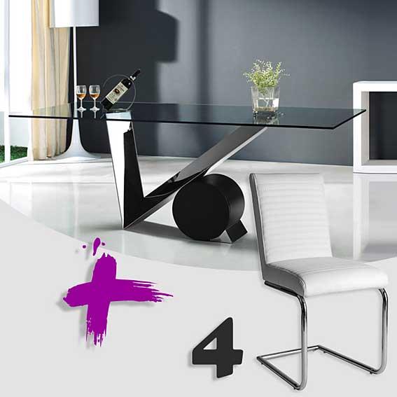 Pack mesa comedor y 4 sillas artemisa no disponible en for Artemis muebles