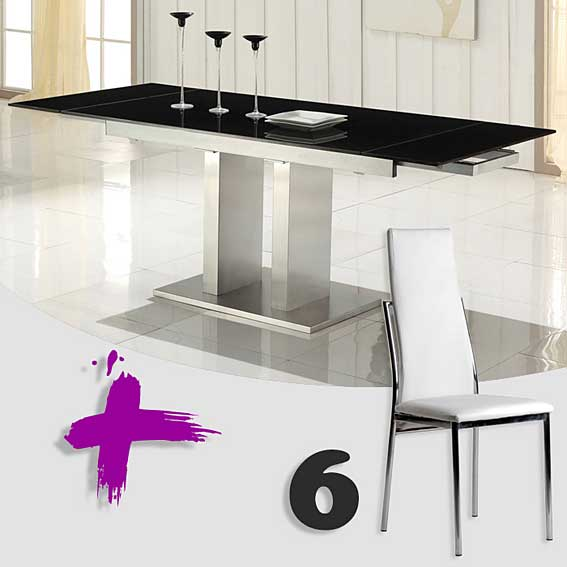 Pack mesa comedor y 6 sillas febea no disponible en for Sillas comedor pack 6