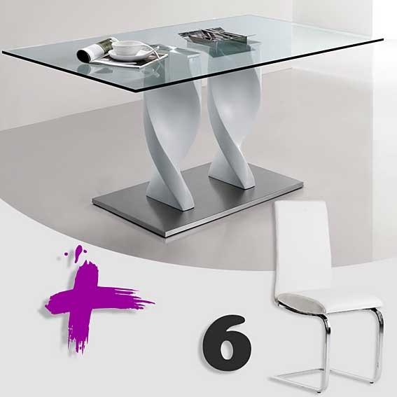 Pack mesa comedor y 6 sillas gaia 2 no disponible en for Sillas comedor pack 6