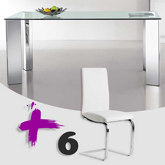 Pack mesa comedor y 6 sillas apolo no disponible en for Sillas comedor pack 6