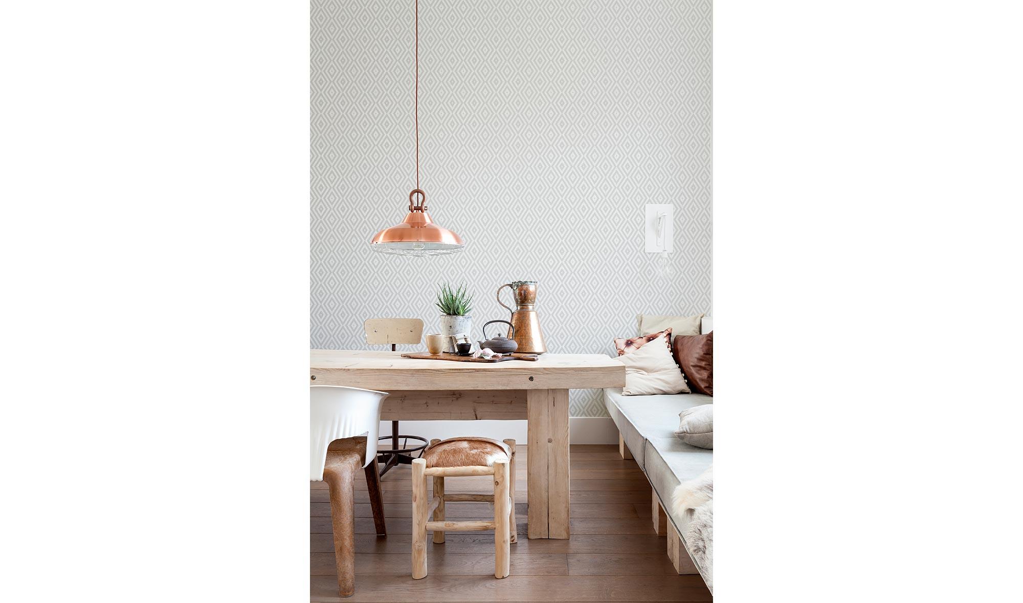 Rollo papel pintado rombos gris en - Papel pintado en muebles ...