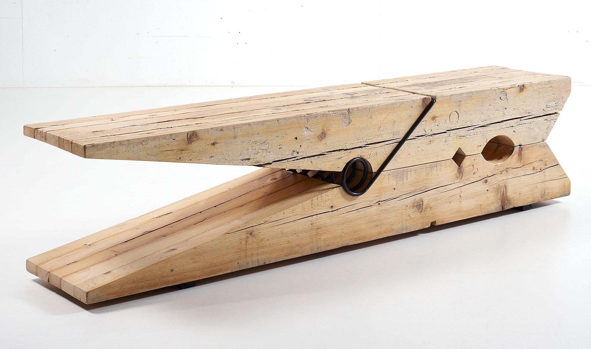 Pinza de madera centenaria reciclada en for Cosas con madera reciclada