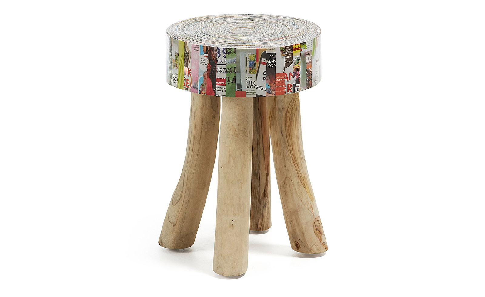 Reposapies papel reciclado dunee en for Muebles con cosas recicladas