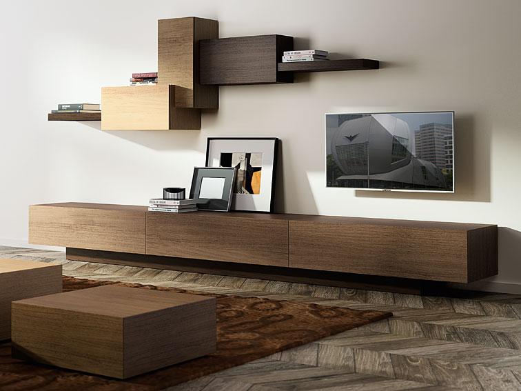 Sal n 3 cajones moderno cubista en for Muebles colgados para salon