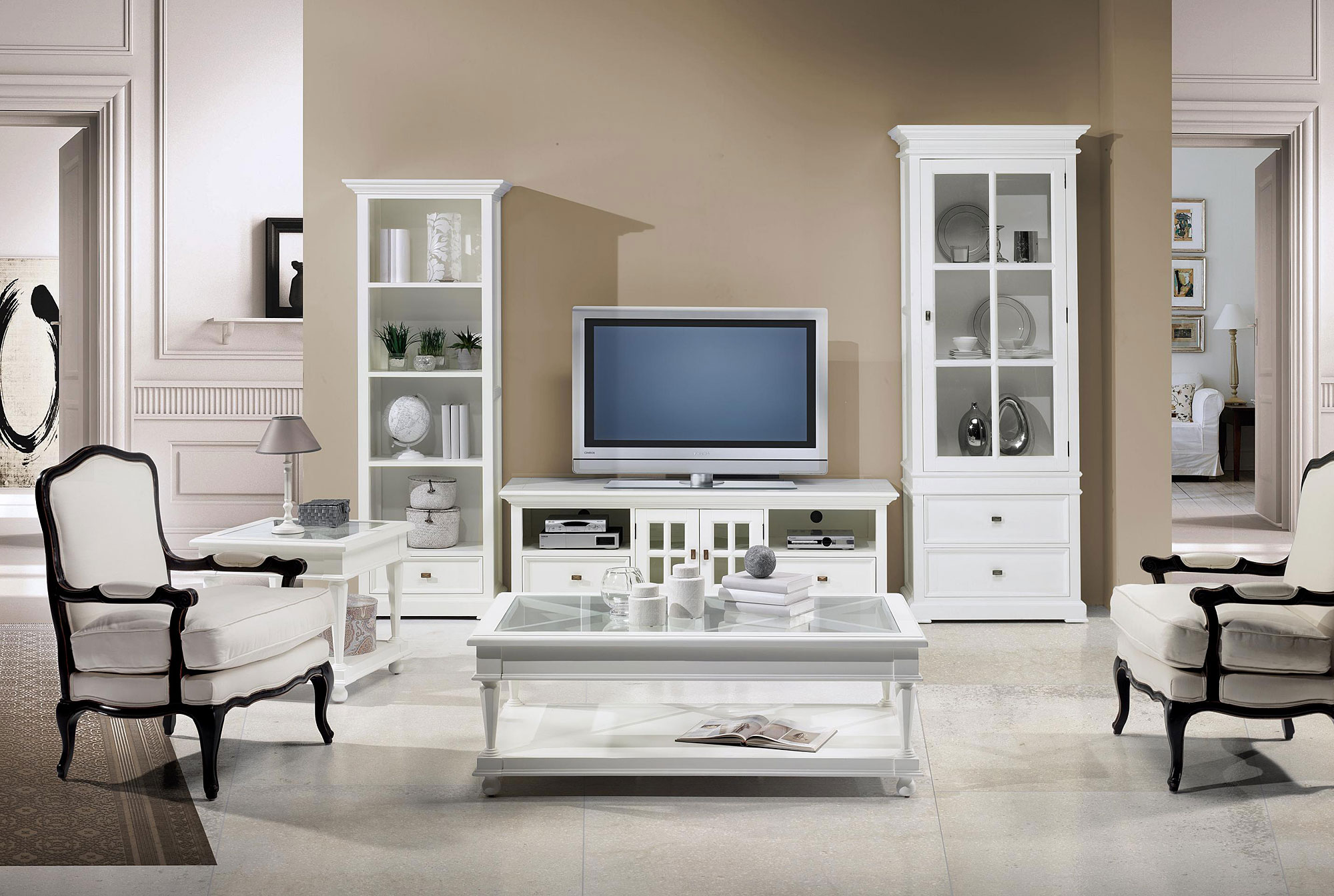 Decoracion mueble sofa muebles salon blanco - Salon en blanco ...