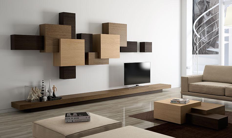 Sal n moderno cubista iii en - Decoracion paredes salon moderno ...