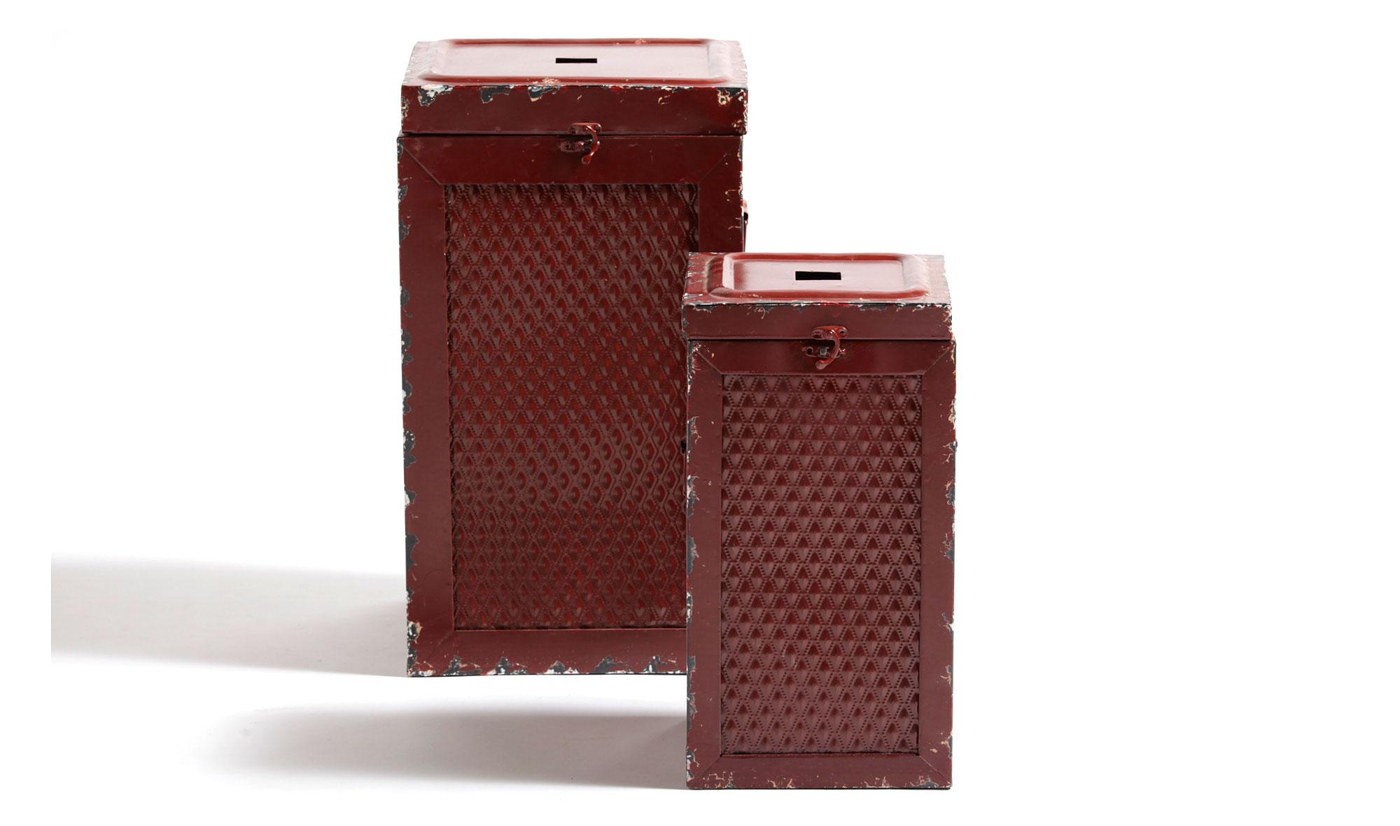 Set 2 taburetes bajos caja rojo vintage Antique