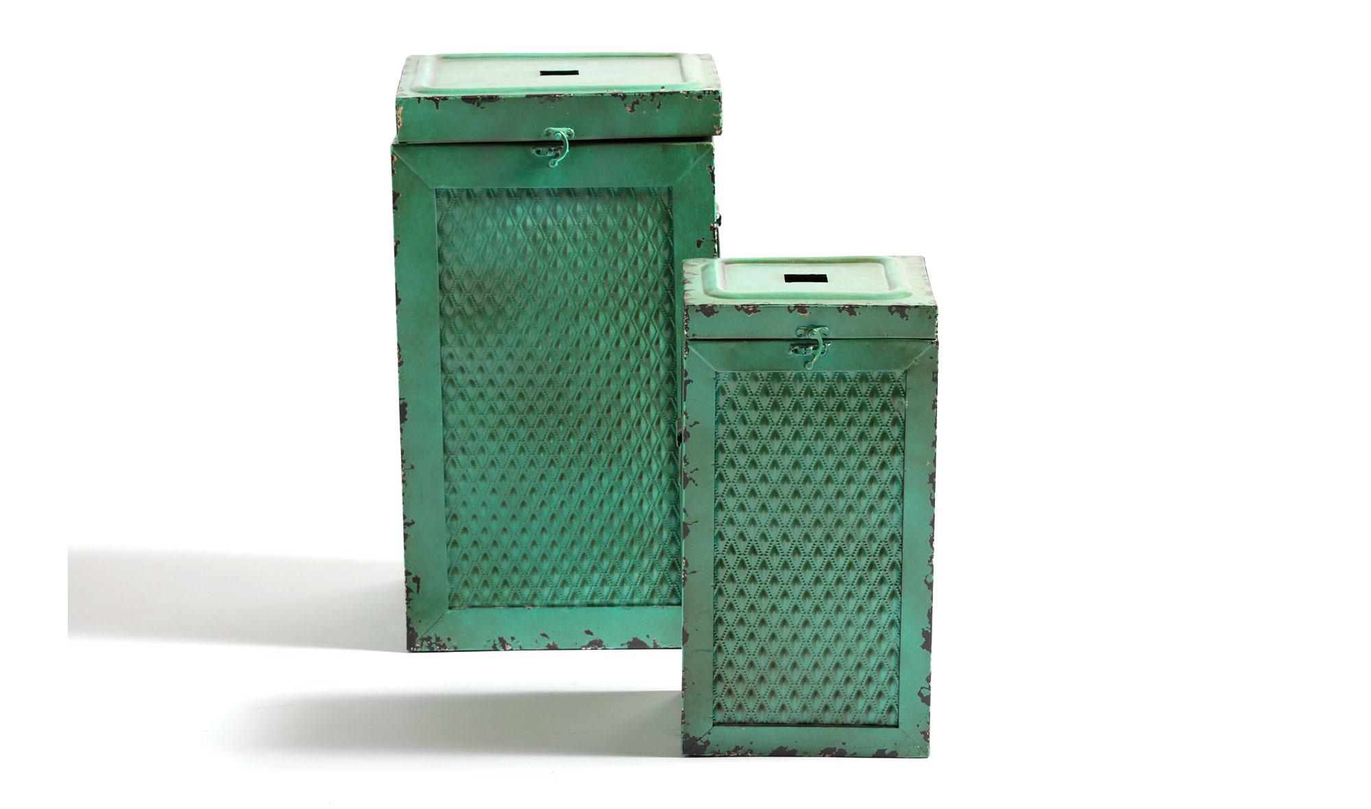 Set 2 taburetes bajos caja verde vintage Antique