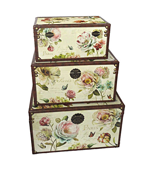 Set 3 baules flores paris no disponible en - Baules decorativos ...