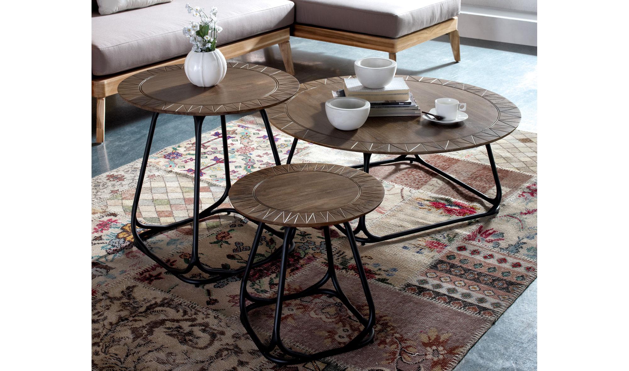 Set 3 mesas de centro vintage trully en - Merkamueble mesas de centro ...