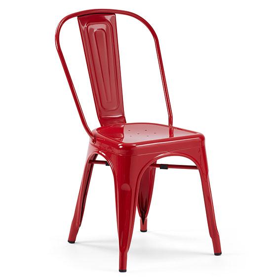 Silla roja vintage tolix no disponible en for Sillas rojas comedor