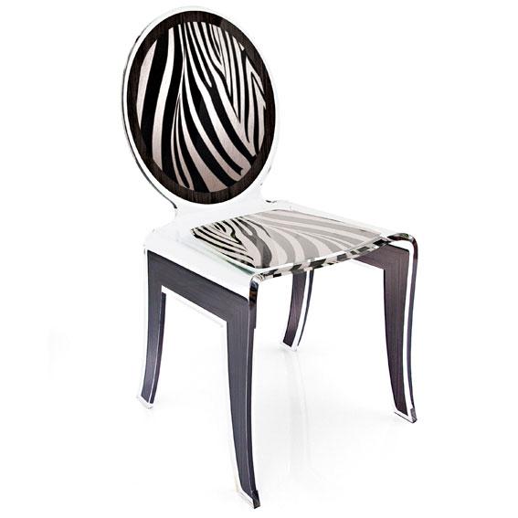 silla moderna zebra en