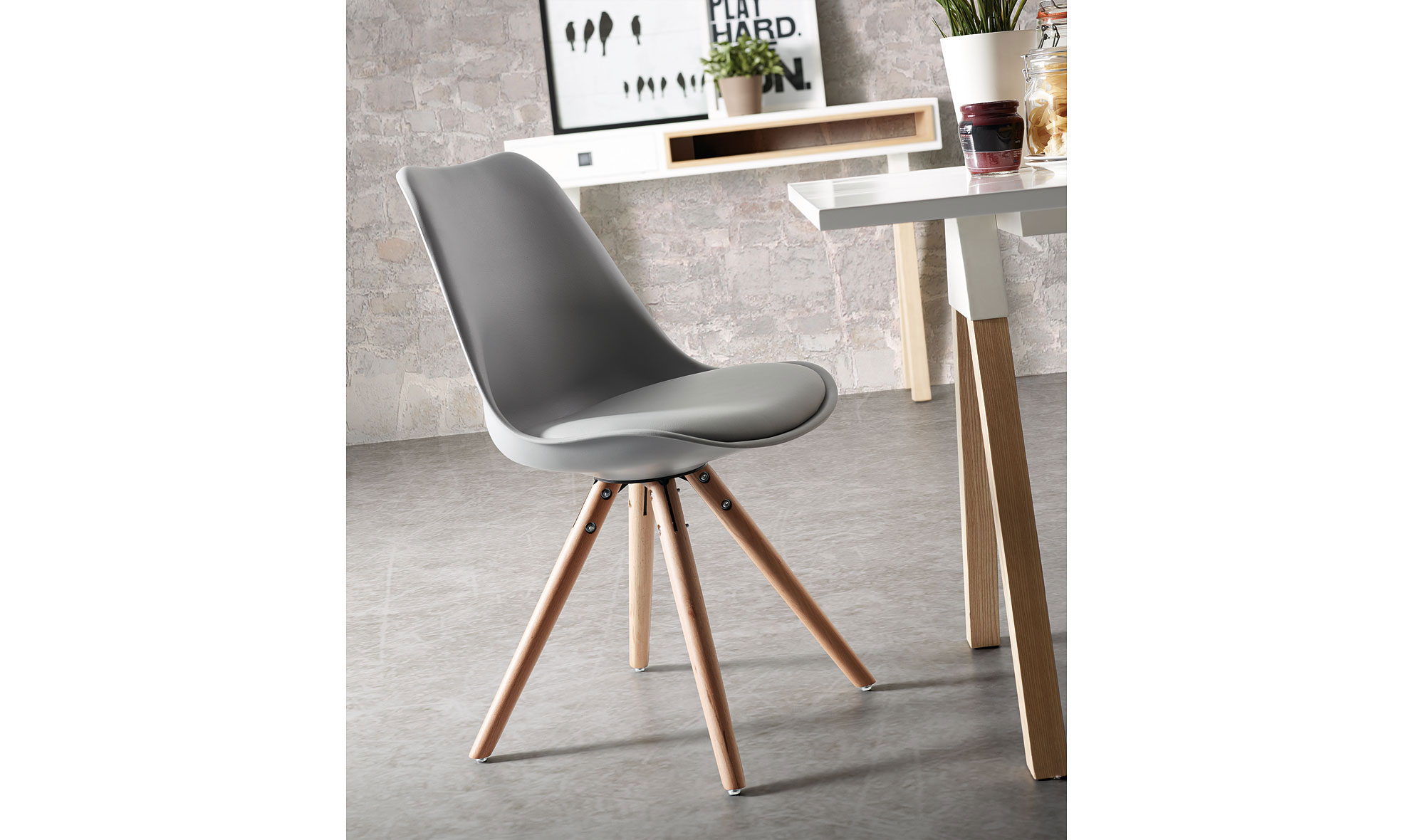 Silla gris moderna ralf en for Sillas comedor color gris