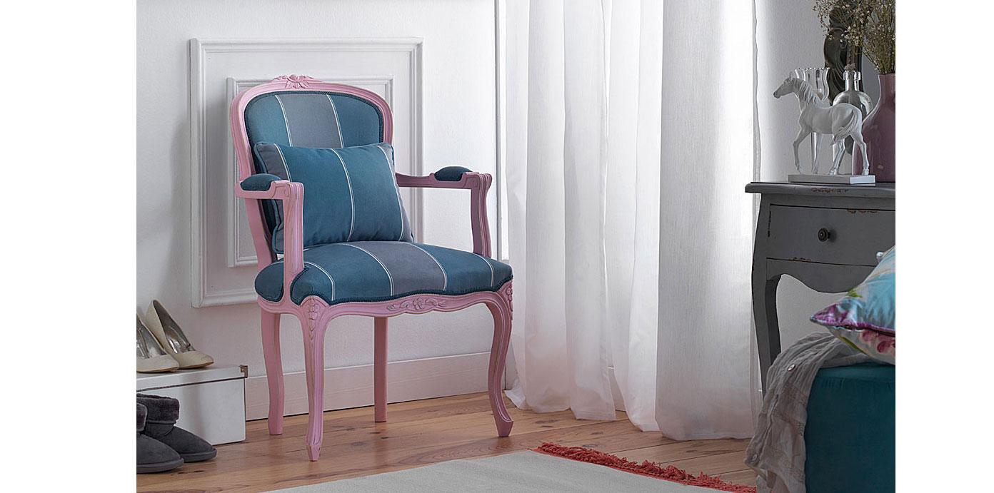 Sillón rosa vintage tapizado Luis XV en Portobellostreet.es