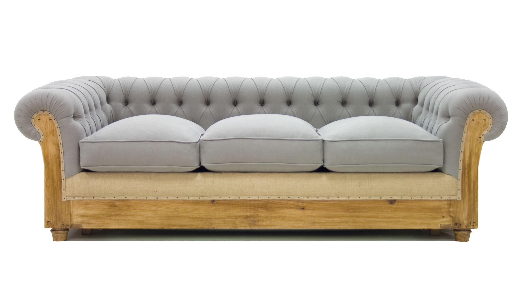 Sof cama gris chesterfield chesire en for Sofa cama muebles boom