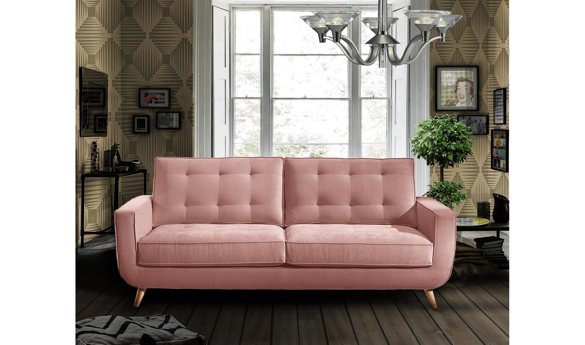 Sofá retro rosa cuarzo Sterling Cooper en Portobellostreet.es
