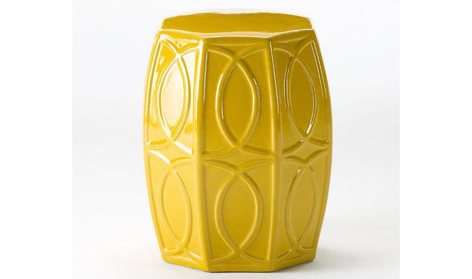 Taburete bajo chino cerámica amarillo