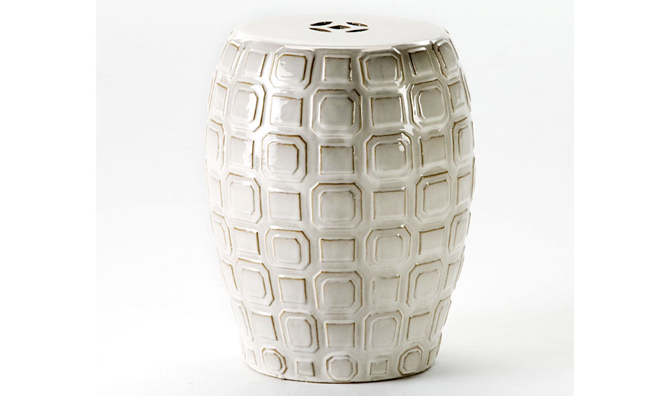 Taburete chino cerámica blanco roto